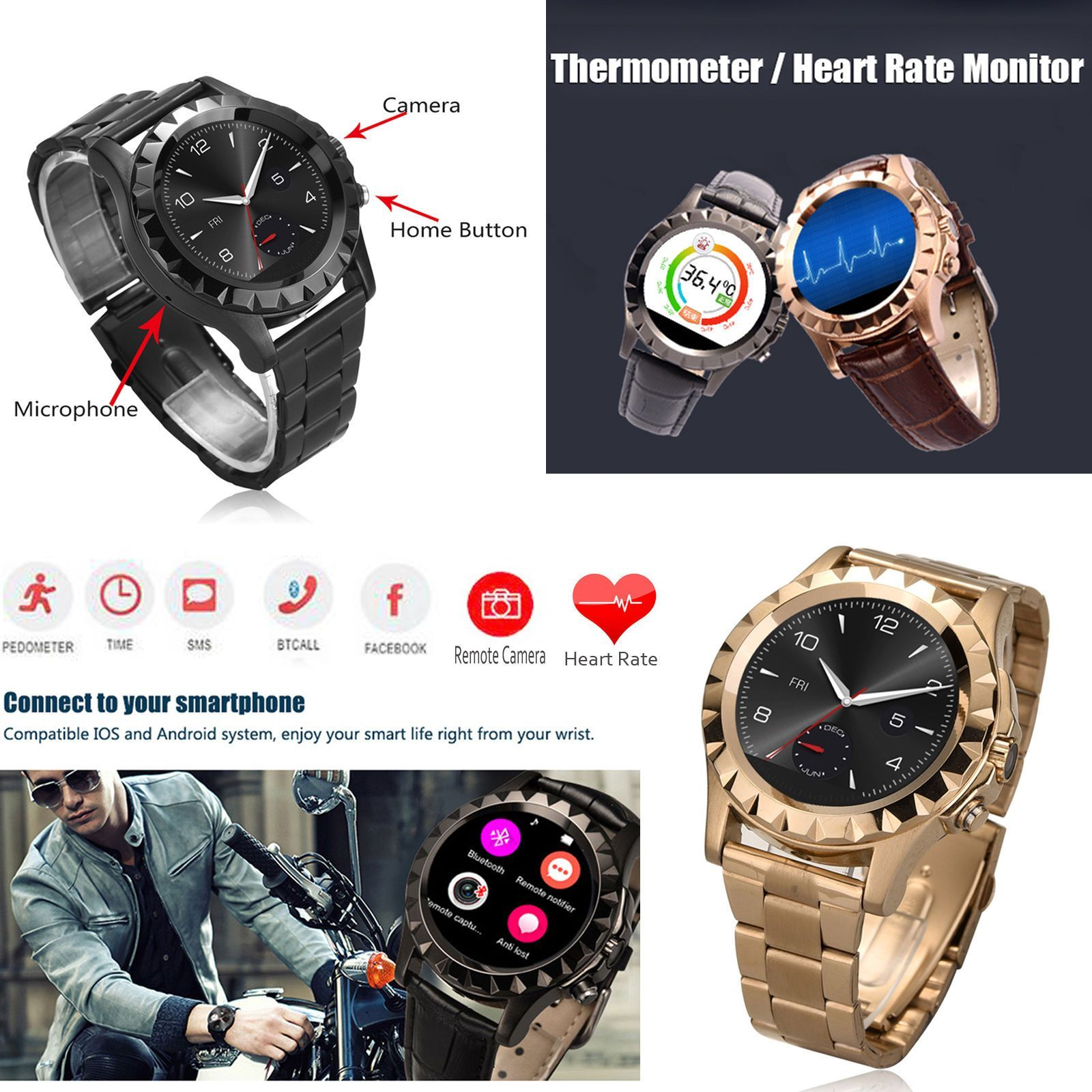 Heart Rate Monitor Bluetooth Smart Watch For Samsung S7 S6 A3 A5 J3 J5 Lg K7