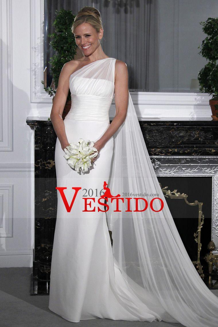 2014 Conciso boda vestidos de vaina de un hombro gasa Precio Blanco ...
