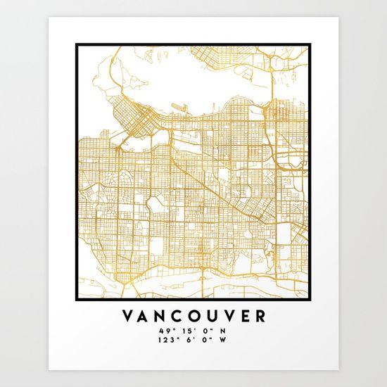 Vancouver Canada Street Map VANCOUVER CANADA CITY STREET MAP ART | An elegant city street map