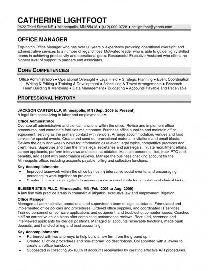 Office Manager Resume Sample resume Pinterest Sample resume - bookkeeper resume objective
