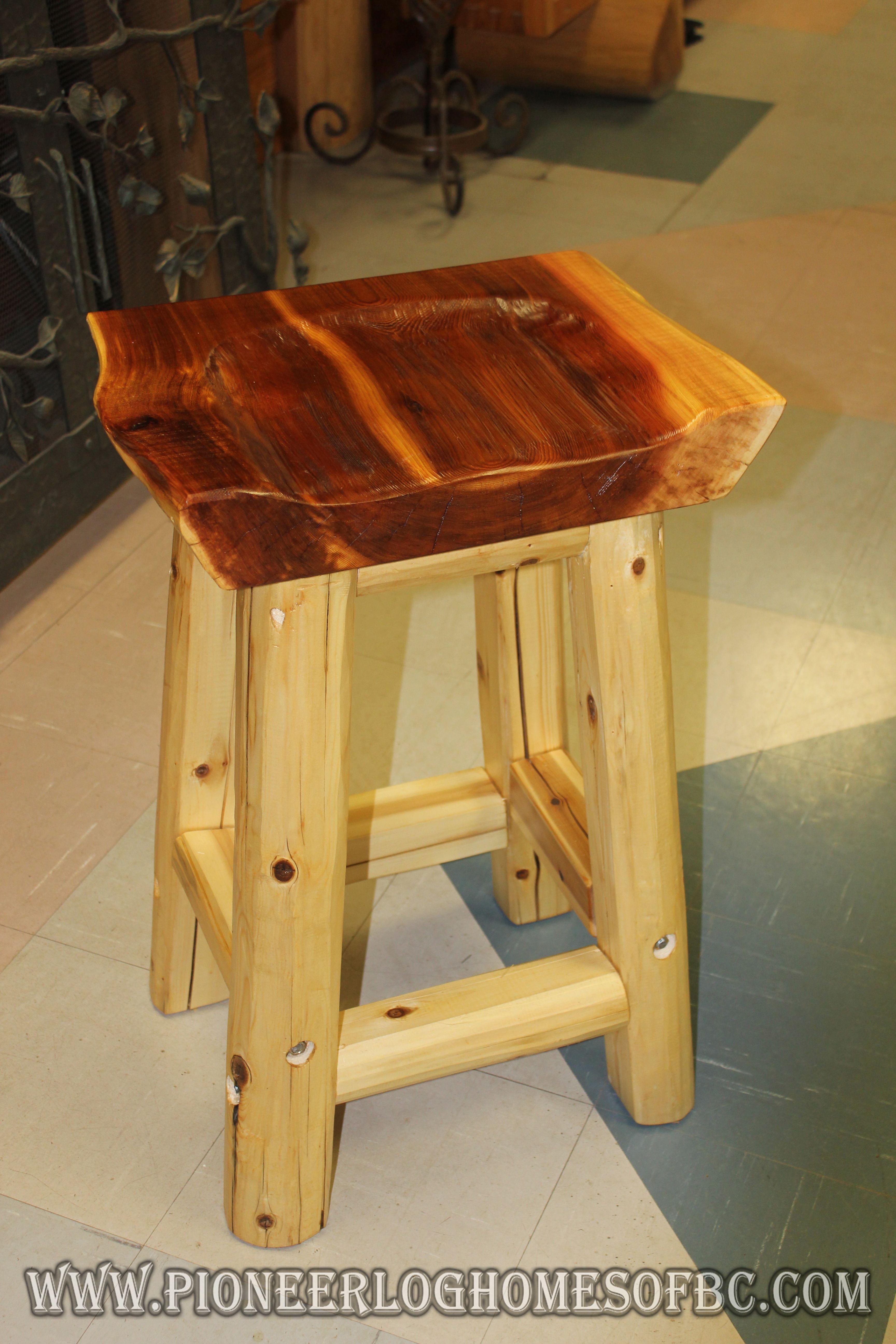 Handcrafted western red cedar log bar stool