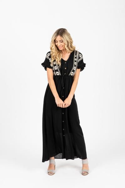 The Brookner Embroidered Maxi Dress in Black #blackmaxidress
