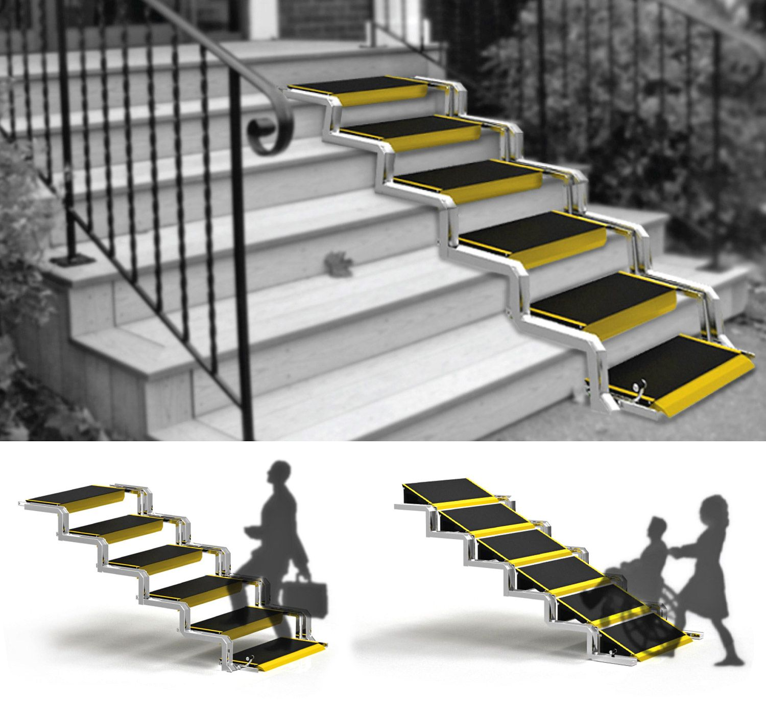 These Convertible Stairs Convert Into A Wheelchair Ramp