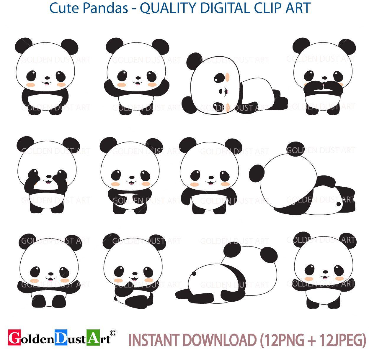 Panda Clip Art Panda Clip Art Panda Clipart Cute Panda Etsy Cute Panda Kawaii Panda Panda