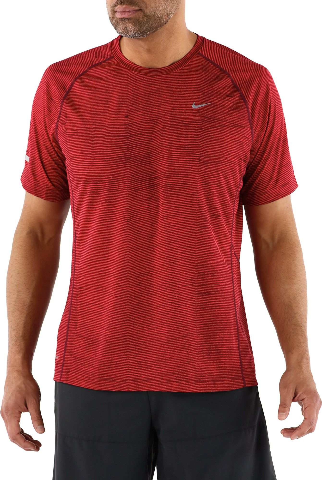 Nike Male Printed Miler Crew T-Shirt - Men's