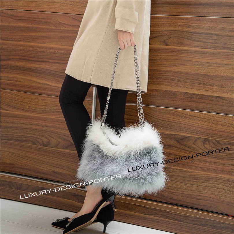 940b8c4d6b Sweet Chic Fluffy feather Women Shoulder bag Faux fur Chain Bag purse  Fashion Runway bag Bolsa