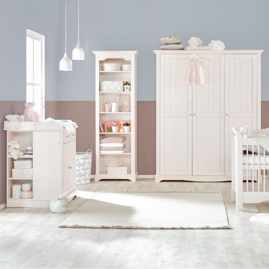 Babyzimmerset Karlotta (3-teilig) - Kiefernholz/White Wash