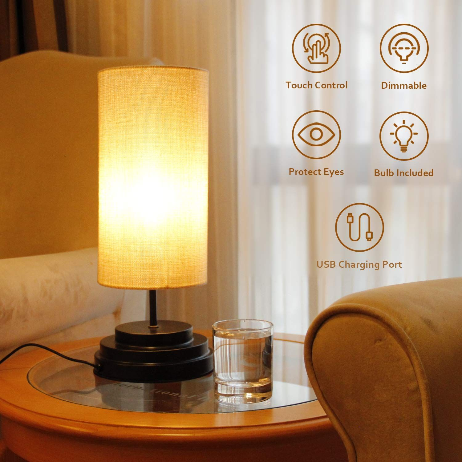 Table Lamp with Touch Control, BRIMAX 0100 Steplessly
