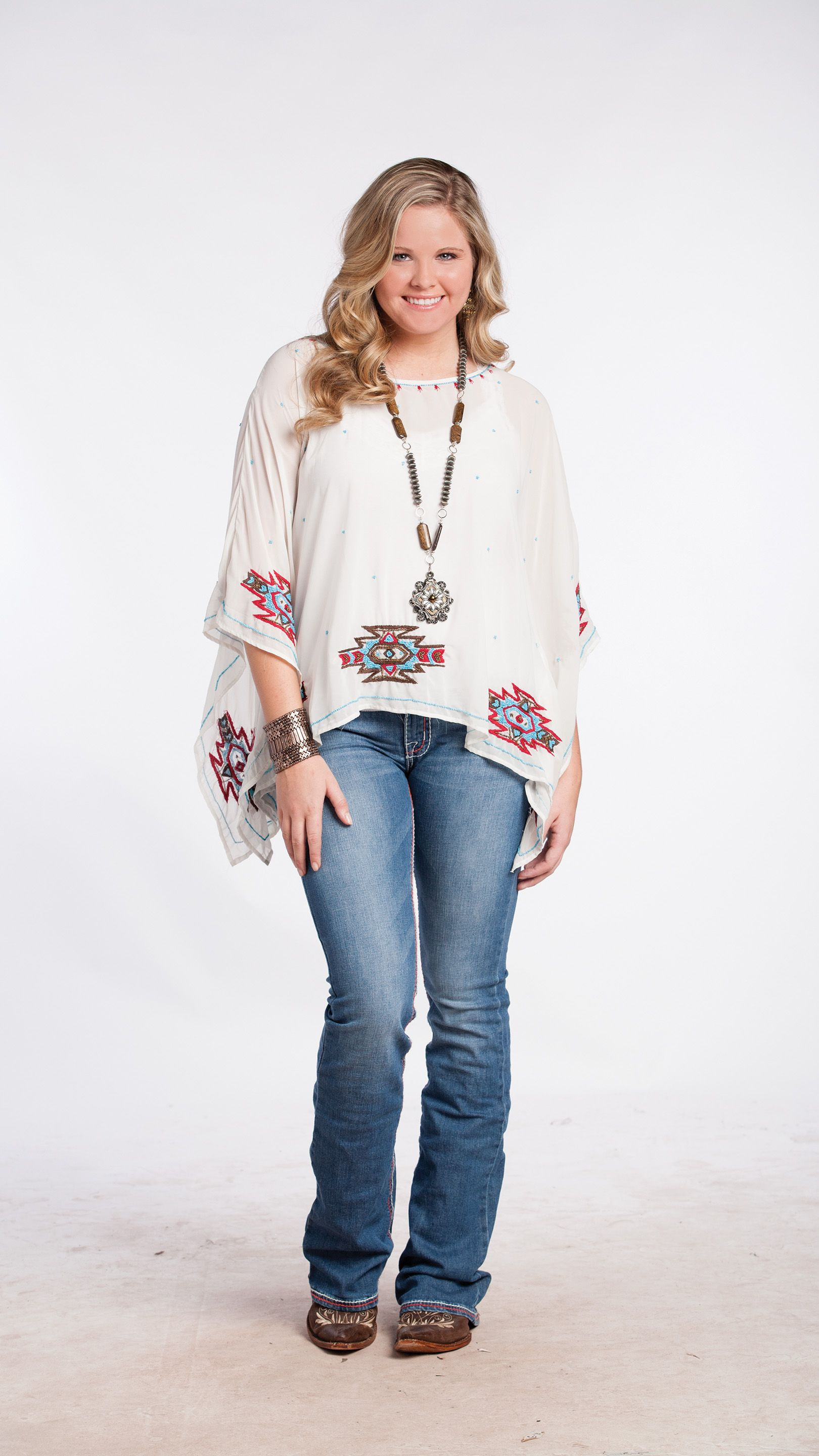 aztec beaded western blouse for cowgirls available in