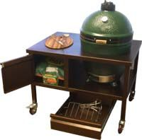 Large Egg in Portable Cart (wood also available) This cart is a perfect match for your Egg. It has a pull out drawer & door cabinet for the accessories, plus room to store lump charcoal. http://www.bbqgrillsandislands.com/big-green-egg.html