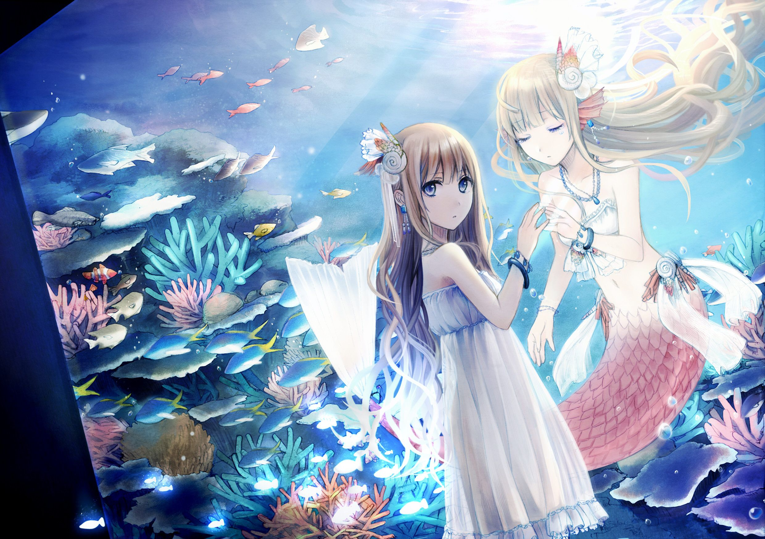How sweet anime mermaid girl and her