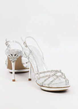 Bridesmaid Shoes Silver Heels Dressy Sandals Glitter Pumps Silvershoe 500