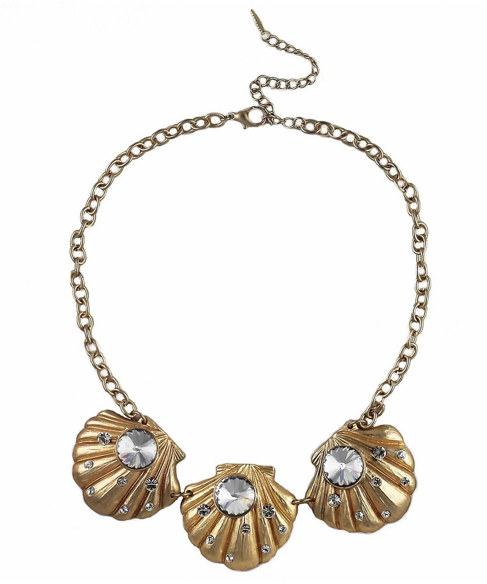 Gold Crystal Shell Statement Necklace #shoplately