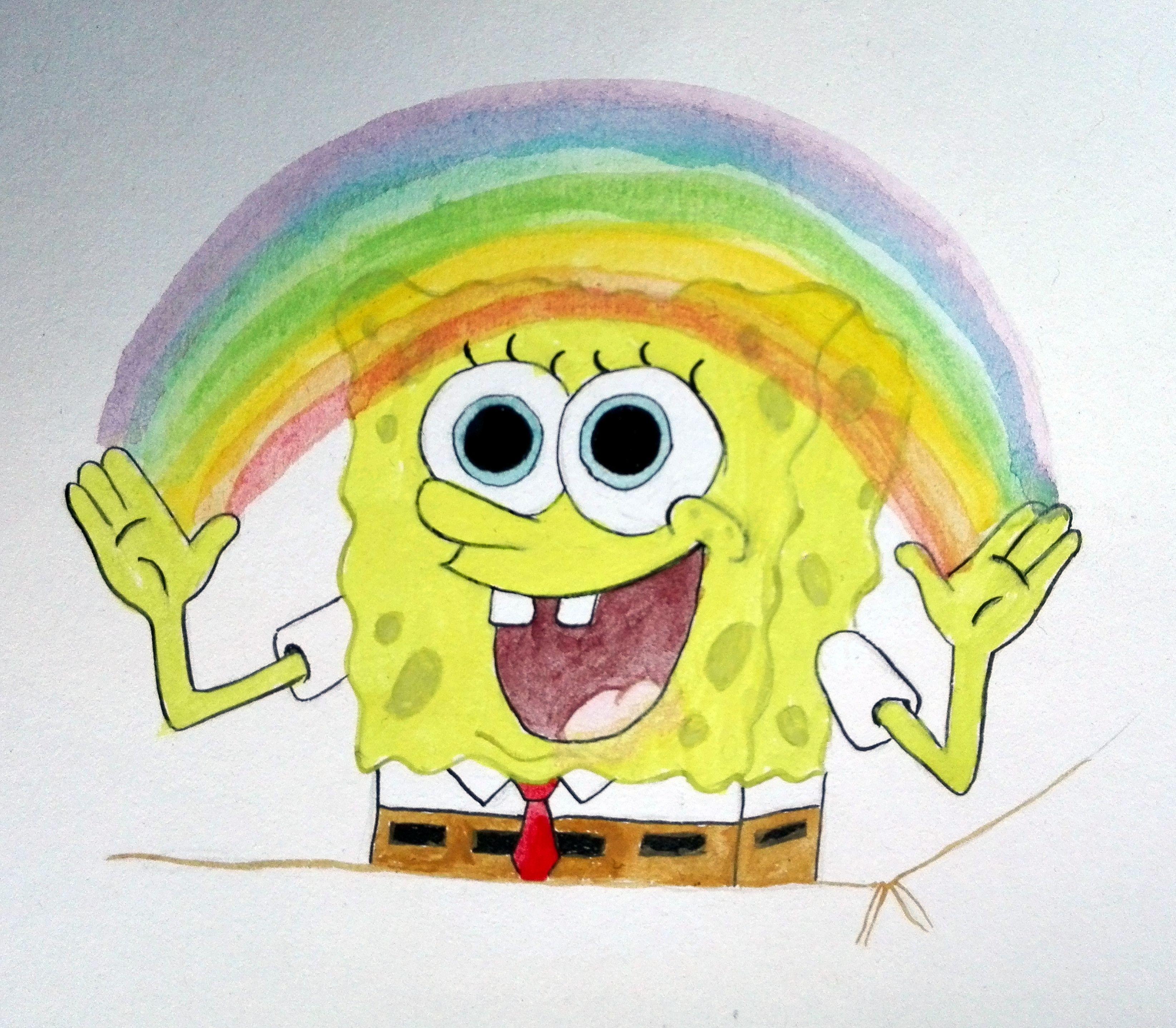 watercolor spongebob imagination rainbow painting
