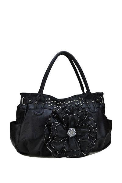 Black Flower Handbag With Side Pockets Flower Popular Fashion