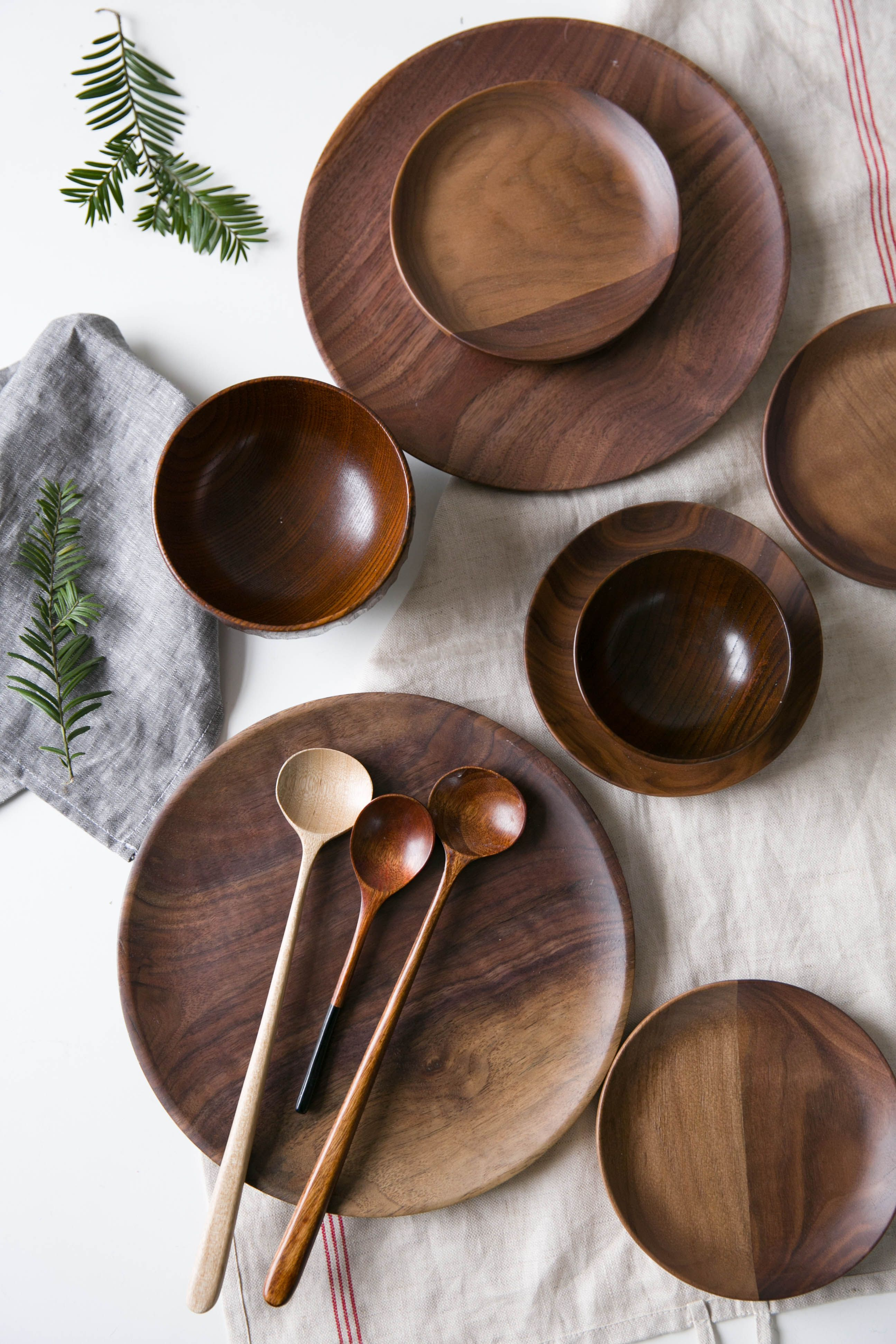 wooden dinner sets  Wood kitchen tool, Kitchen utensil decor