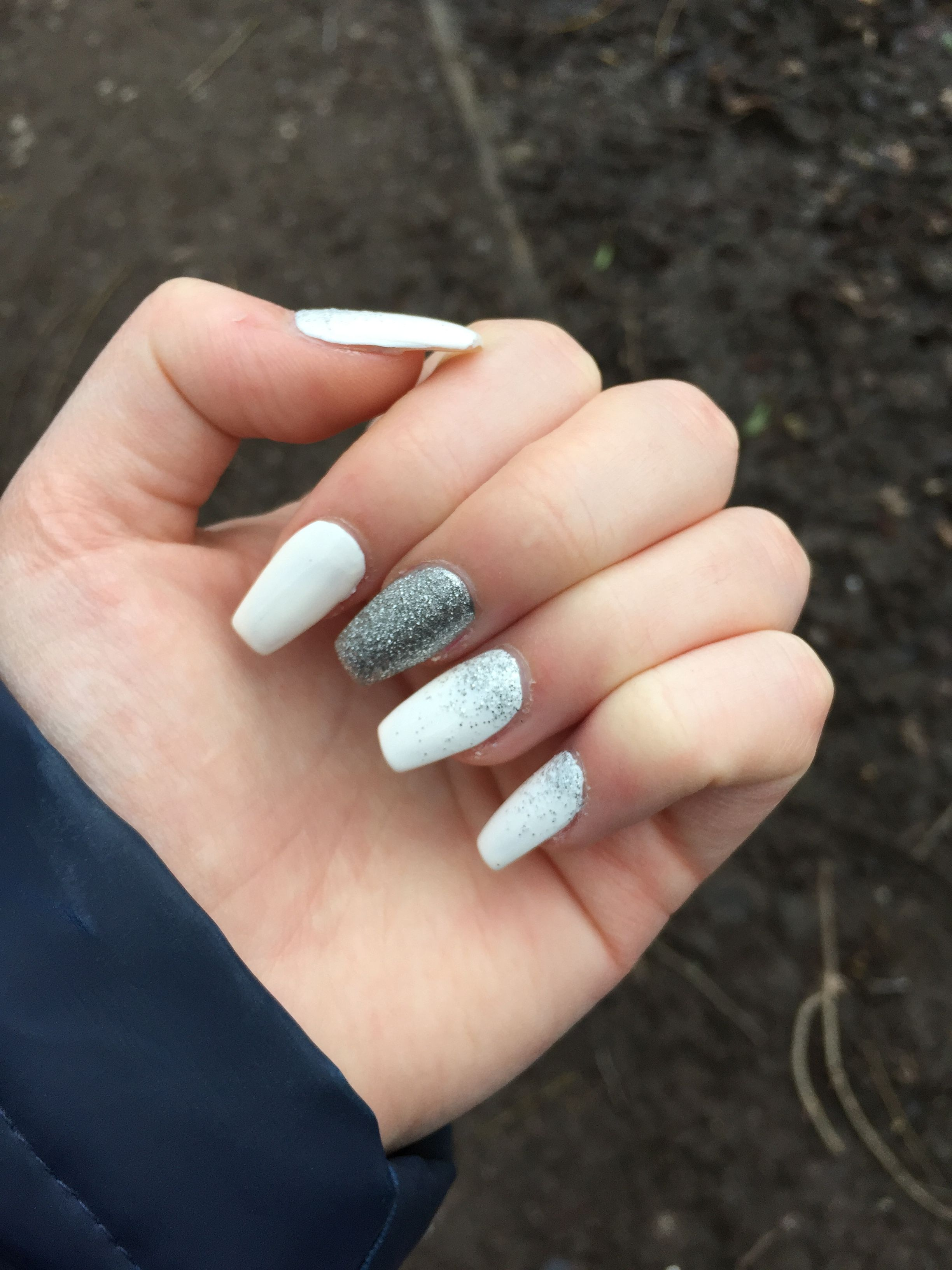 Grey And Silver Acrylic Ombré - Nail Art Gallery