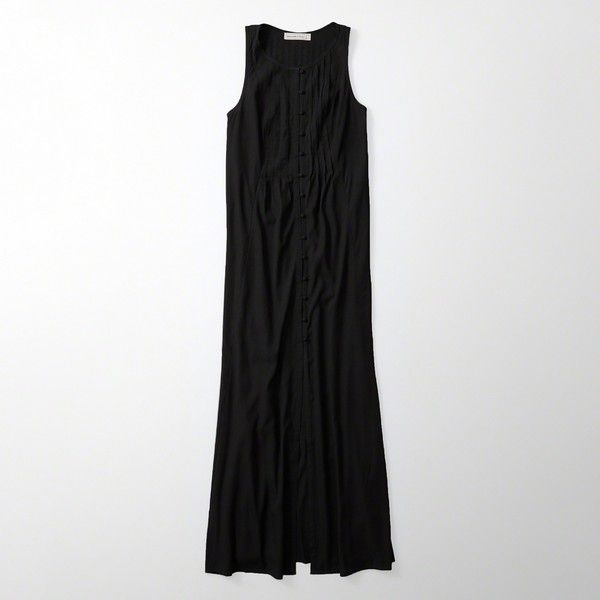 Abercrombie & Fitch Maxi Dress (¥5,250) ❤ liked on Polyvore featuring dresses, skirts/dresses, black, front slit dress, no sleeve dress, maxi dresses, sleeveless button down dress and front slit maxi dress