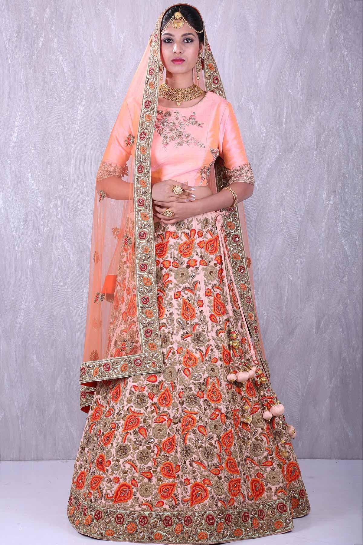b41f65146e Buy Pale peach enticing raw silk lehenga choli with resham thread work  Online #sabyasachi #anamikakhanna