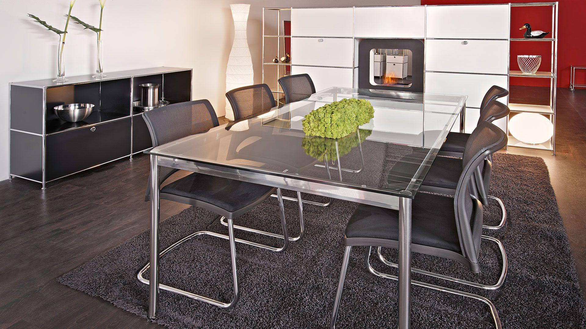 Besprechungstisch Konferenztisch 200 X100 Cm Mit Tischplatte In Klarglas Bueromoebel Metall Sideboard Mit Metall Klapptueren Und Regal Metallstuhle Regal Tisch