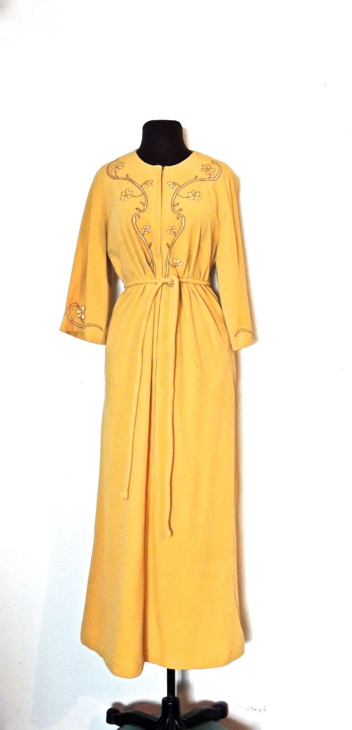 161001a7f64f vintage zip up robe - 1950s Evelyn Pearson yellow fleecy floral lounge coat  robe by mkmack on Etsy