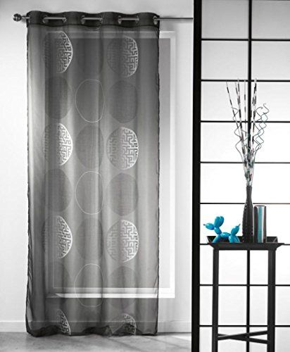 Printed Sheer Grommet Curtain Panels Kosmo Anthracite Gray 55w X 95l You Can Get More Details By Clicking On The Im Panel Curtains Grommet Curtains Curtains