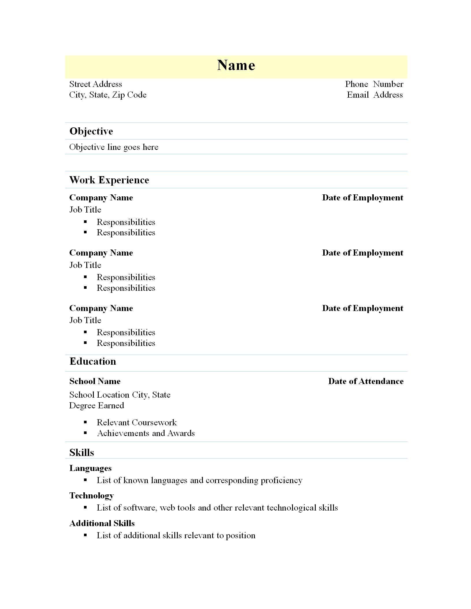 nuik noke Simple Resume Template Free Download in 2020