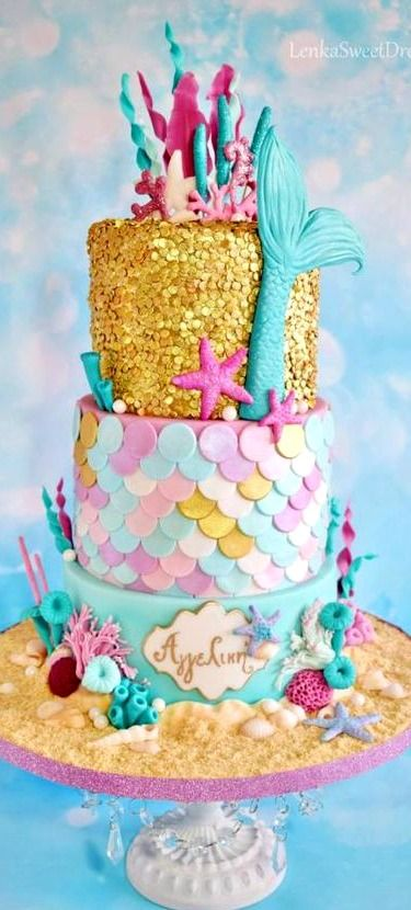 Mermaid Sequin Cake Pinteres