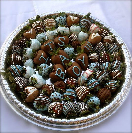 Blue Chocolate Covered Strawberries For Baby Shower