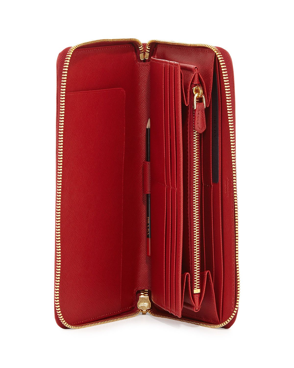 ceaef4d3687d Saffiano Large Zip-Around Travel Wallet Red (Fuoco) | Products ...