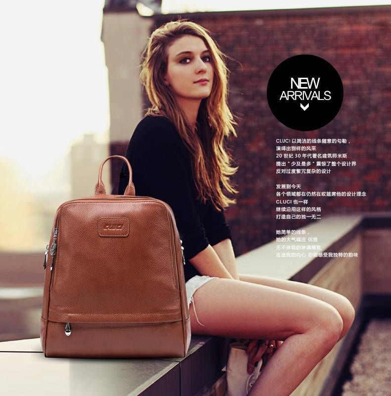 Girl's women's ladies genuine leather backpack shoulder student ...