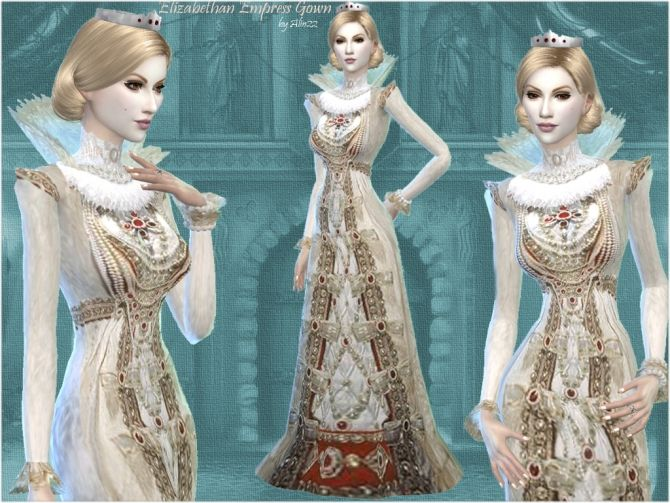 Elizabethan Times Empress Gown at Mythical Sims via Sims 4 Updates