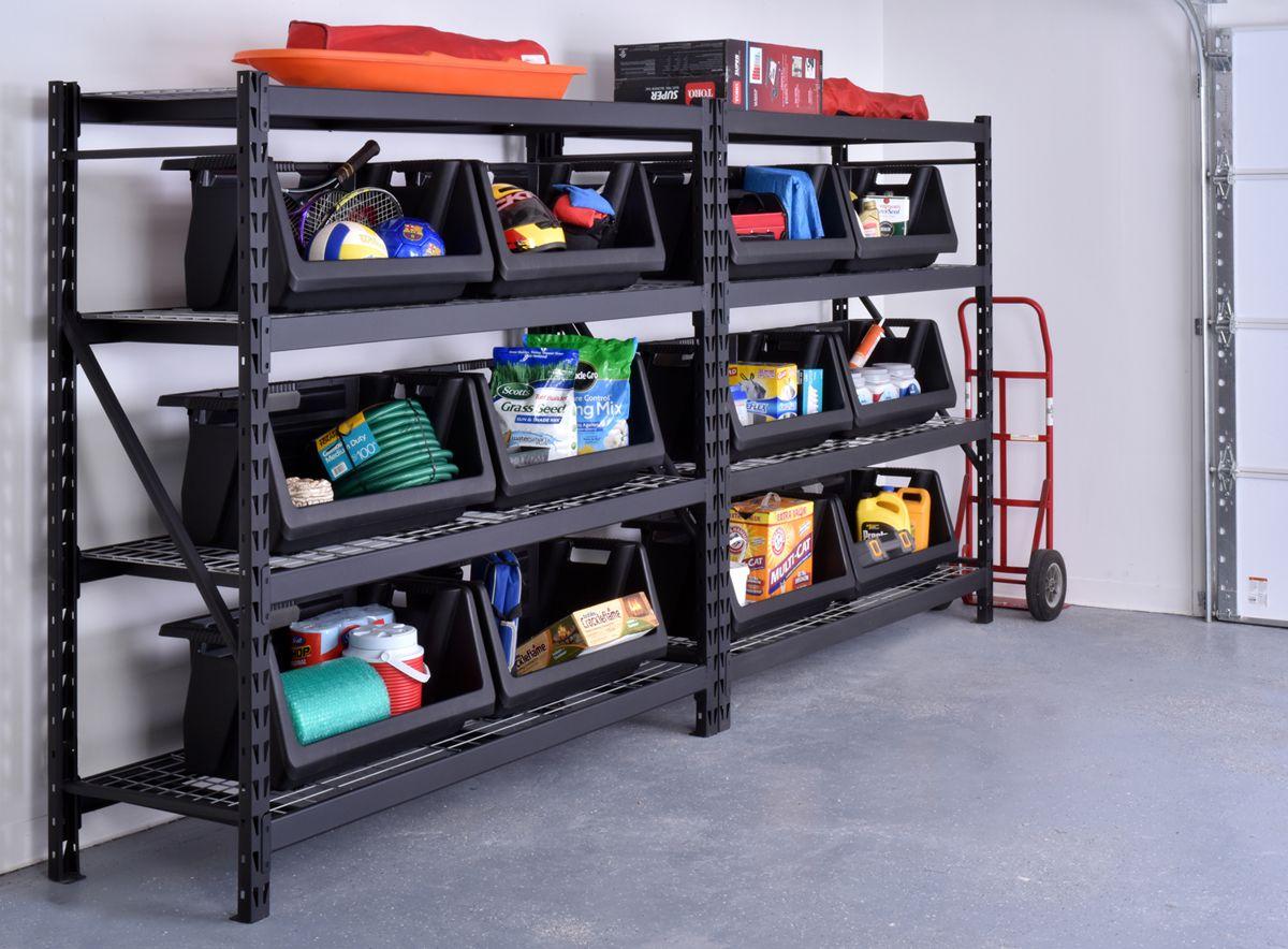 Husky 90 In W X 90 In H X 24 In D 5 Shelf Welded Steel Garage Storage Shelving Unit With Wire Deck In Black Erz902490w 5 Diy Garage Storage Diy Garage Garage Organization Diy