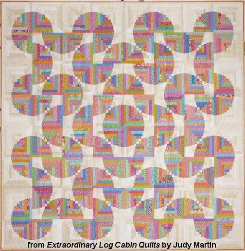 """Playful Spirit, a Log Cabin quilt original - Extraordinary Log Cabin Quilts, 2013. The book is due out in the fall of 2013. Designed and pieced by Judy Martin. Quilted by Lana Corcoran. 96"""" x 96"""" Alternate size of 48"""" x 48"""" also presented. This quilt is made from nothing more than squares and rectangles!"""