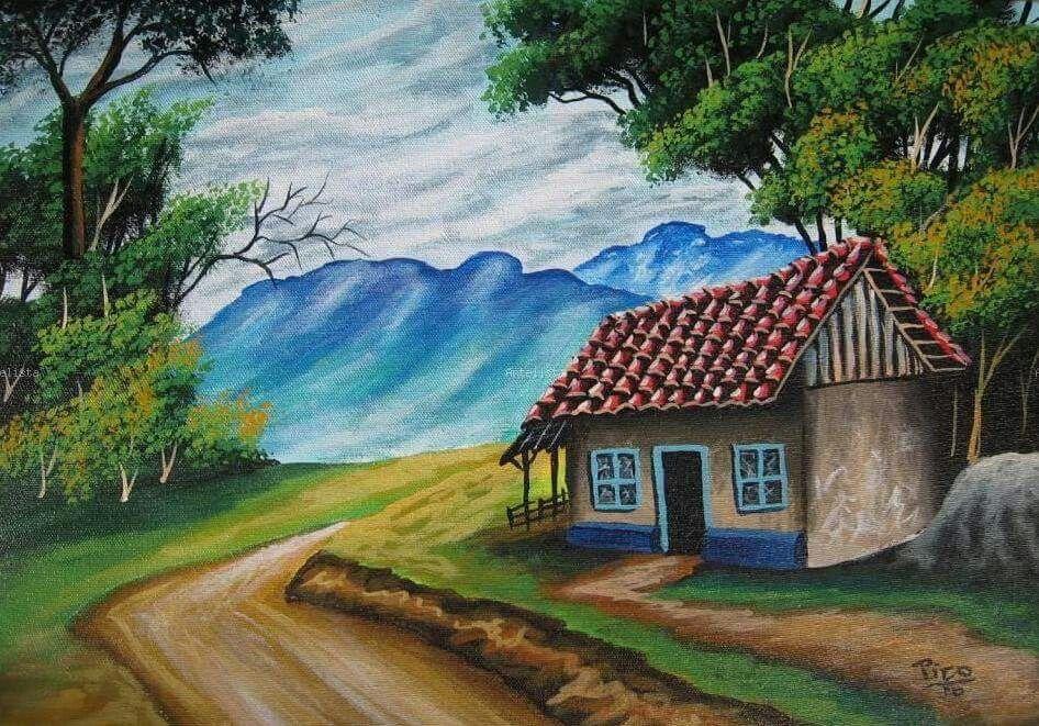 Casa Tipica Cottage Art Colorful Landscape Autumn Painting