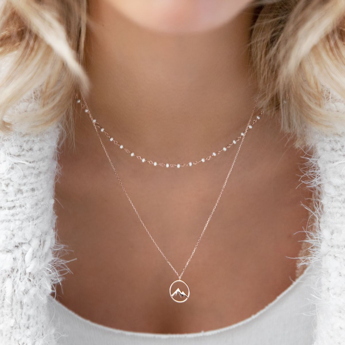 Ain T No Mountain High Enough Jewelry Fashion Mountain Adventure Love Halskette Necklace Rosegold Styl Halskette Rosegold Zarte Goldkette Halskette