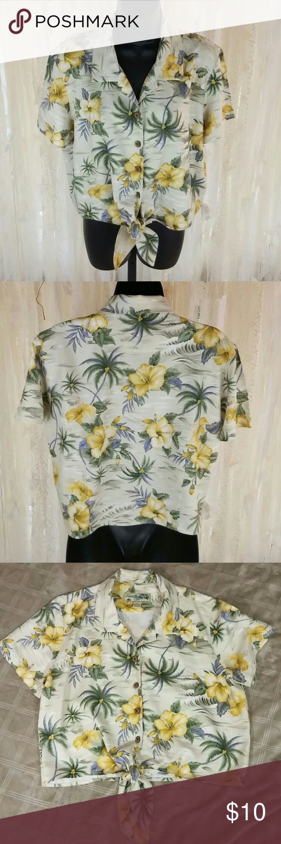 Havana Jacks Cafee shirt A Hawaiian shirt that ties in front, 100% rayon and  size large. Havana Jacks Cafe Tops