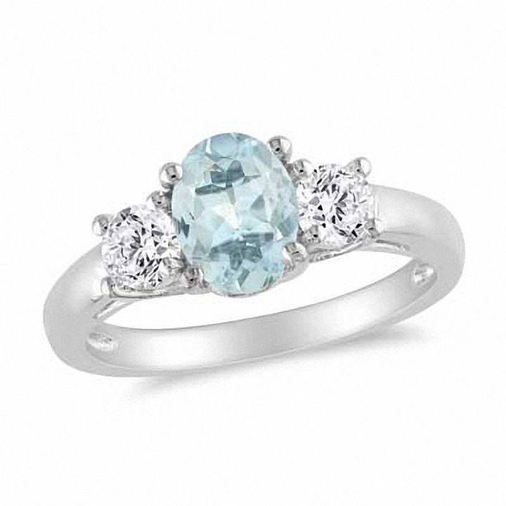 Zales Aquamarine and 1/20 CT. T.w. Diamond Double Heart Ring in Sterling Silver qdwVqq
