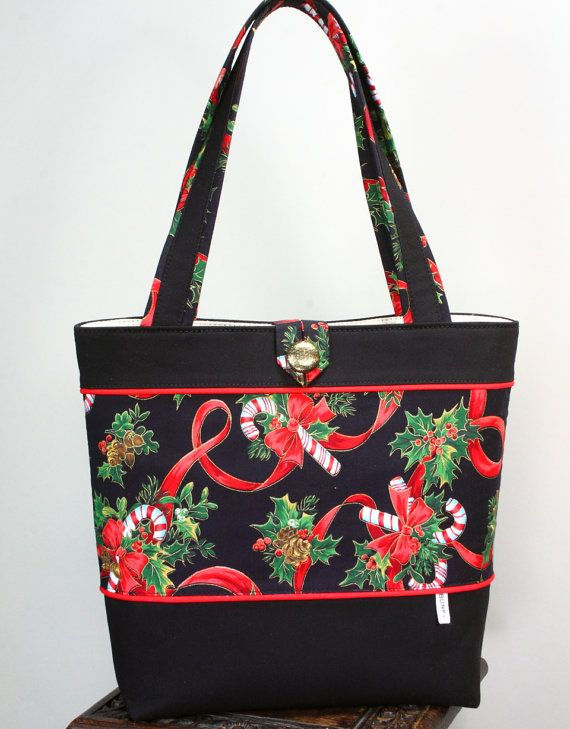 Christmas Bows Candy Canes Holly Berries Holiday Tote Bag Pattern 12 Collection Green Gold Red White On A Black Background