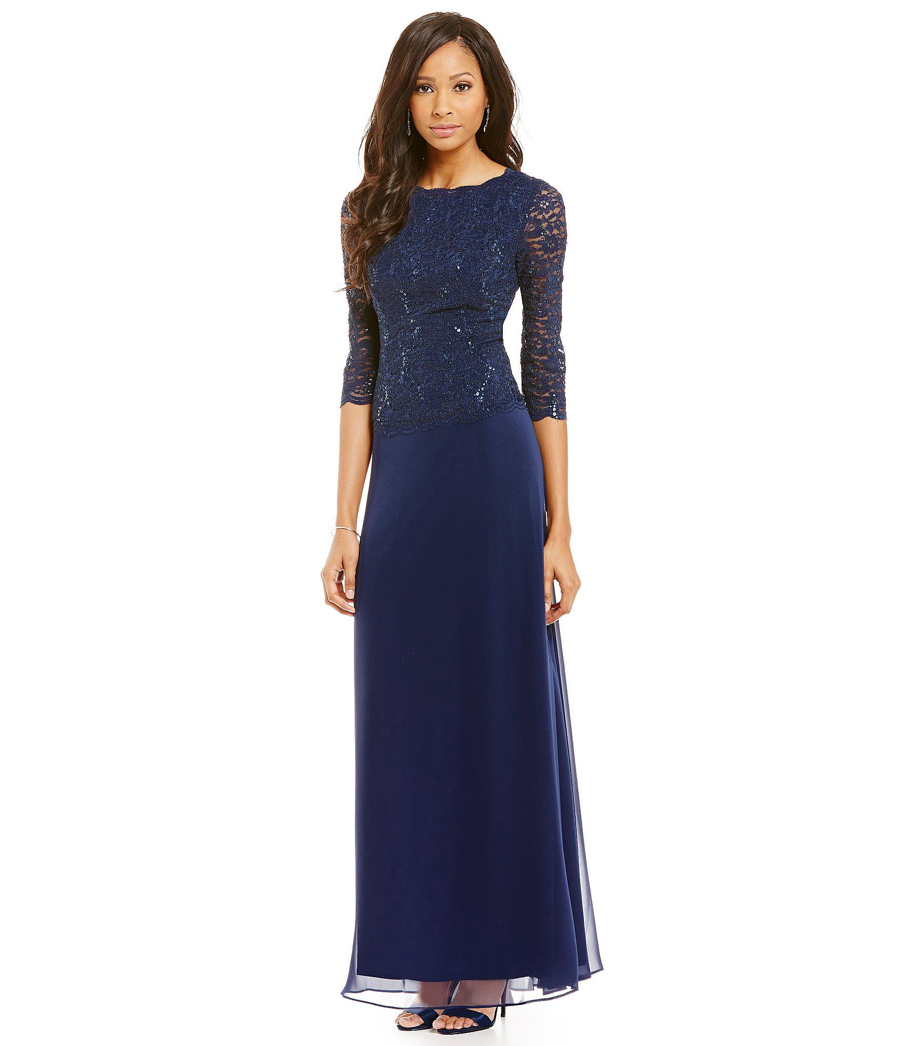 Alex Evenings Sequined Lace & Chiffon Gown | Clothing | Pinterest ...