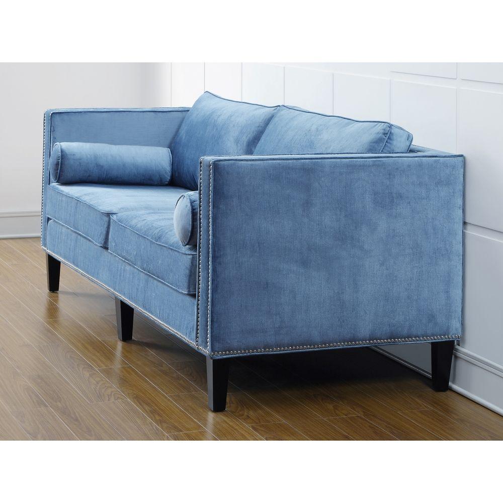 Cooper Blue Velvet Sofa | Overstock.com Shopping - Great Deals on Sofas & Loveseats
