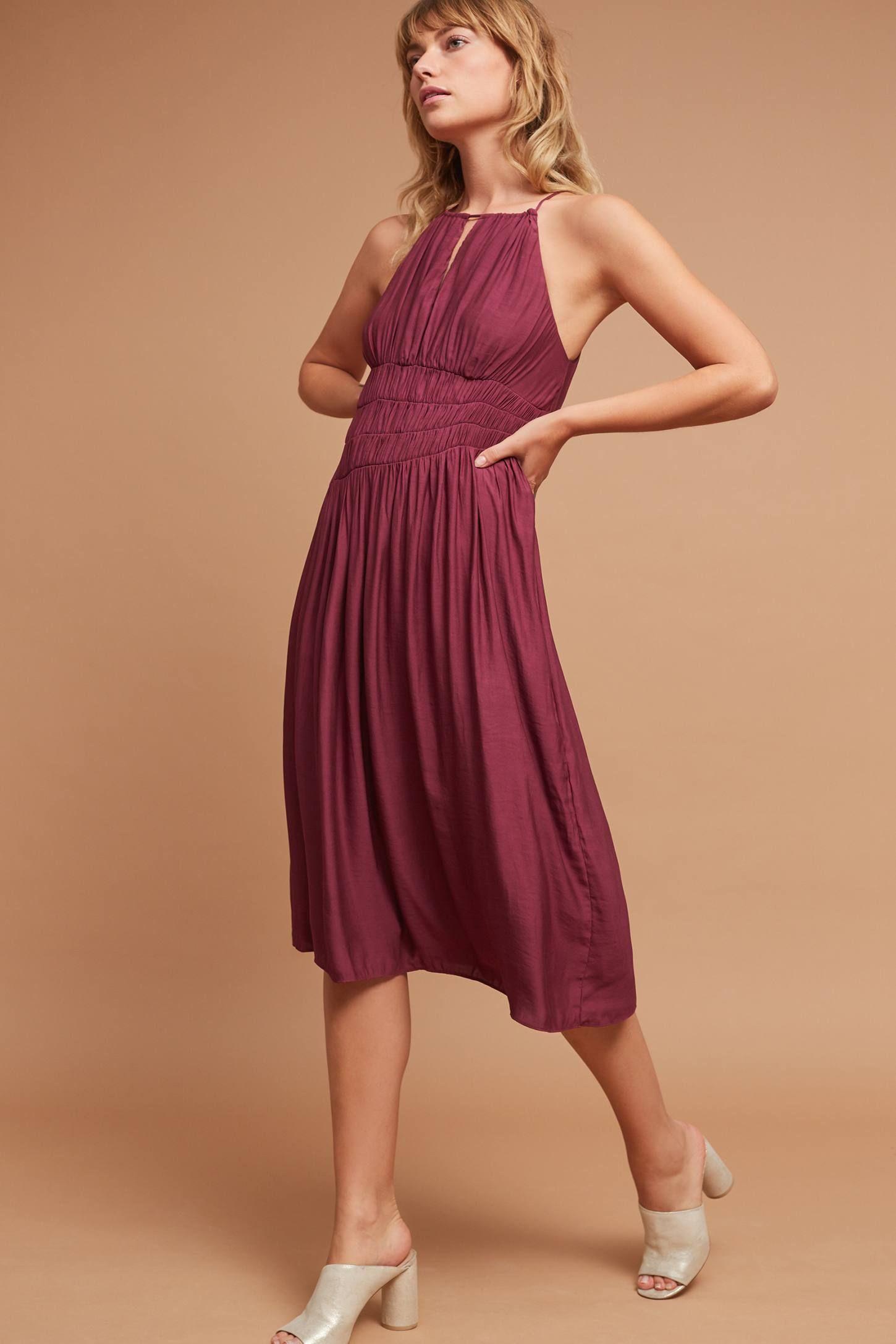 Slide View: 2: Smocked Halter Midi Dress