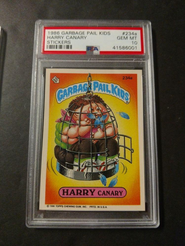 1986 Garbage Pail Kids 6th Series Card 234a Harry Canary Psa 10 Low Pop Garbage Pail Kids Pail 10 Things