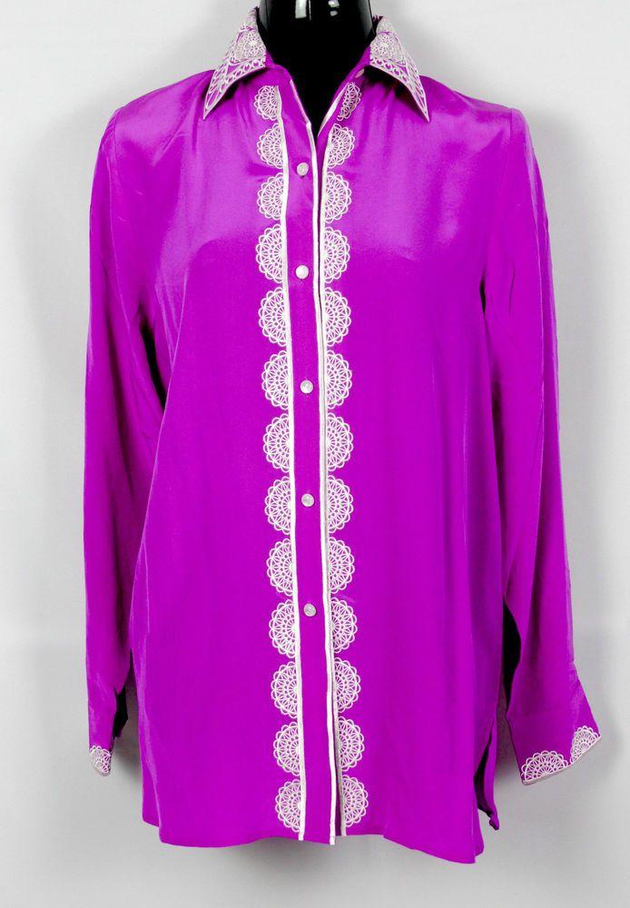 8fe7bdbc9b28d4 Bob Mackie Silk Blouse Wearable Art Magenta Pink Size Small Long Sleeve  Women S