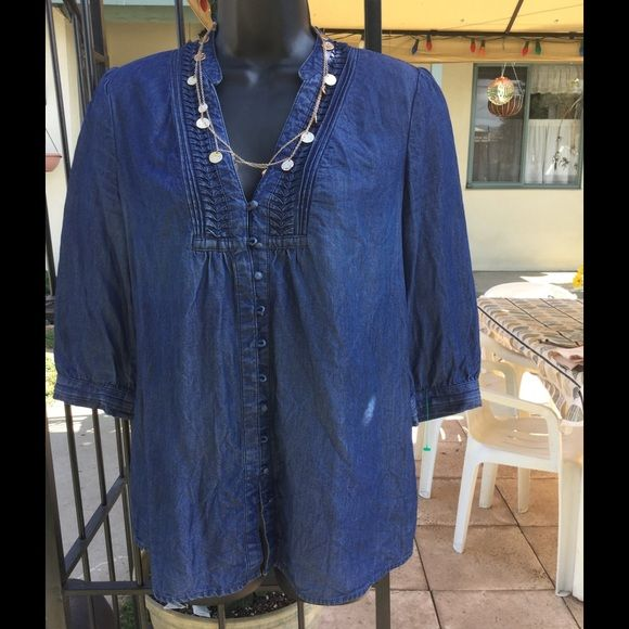 MAISON JULES medium chambray top Like new and in excellent condition, dark blue denim- chambray style top with sweet details:) Has a a line tiny, fabric covered buttons goin all the way down and ribbed detail around the collar, and wrist. Cute with shorts and wedges, fora fun summer night out!!!! Necklace not included :) Tops Button Down Shirts