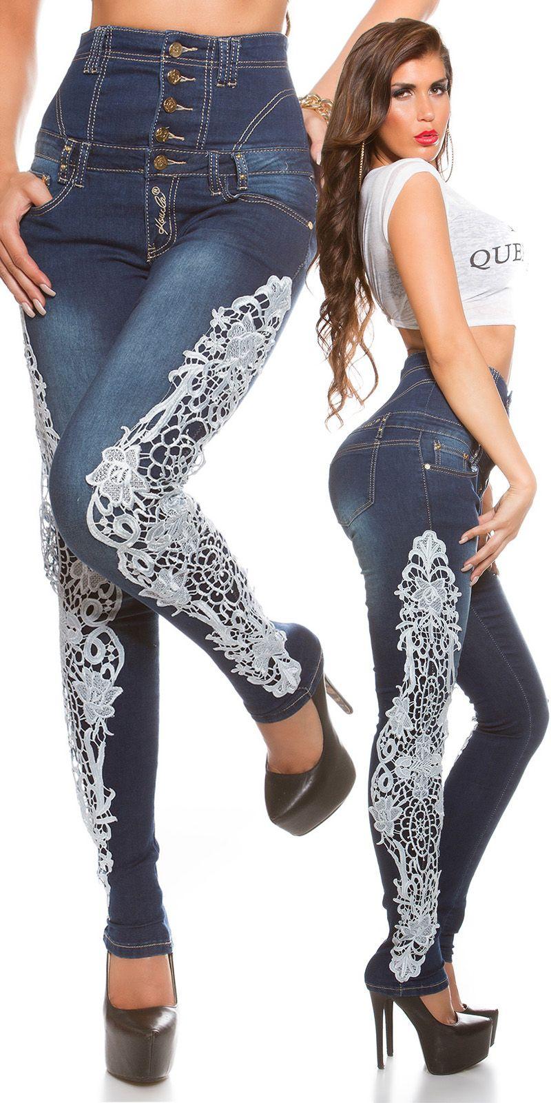 Jeans a vita alta con pizzo  Jeans cocktail con push-up. Taglia s.  https://www.lorcastyle.it