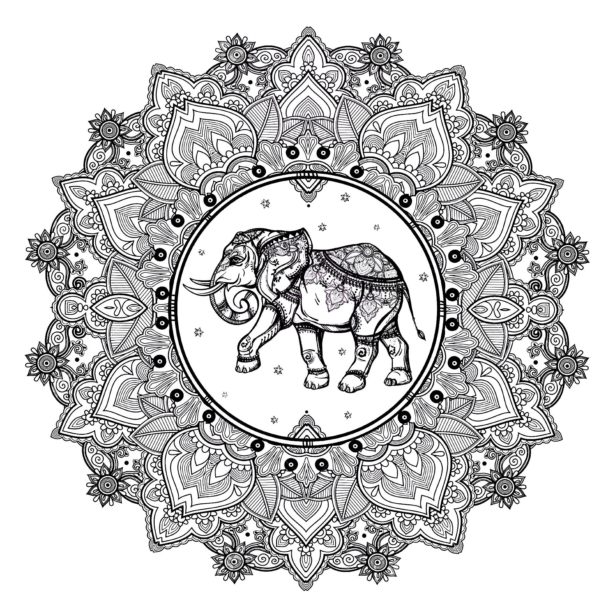 Mandala to print and color, with beautiful elephant in center | From ...