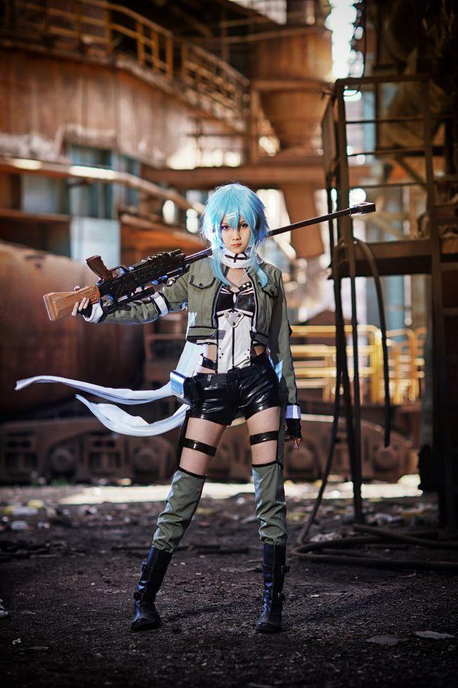 Sword Art Online 2 Phantom Bullet Gun Gale Onlin Sinon Cosplay Costume