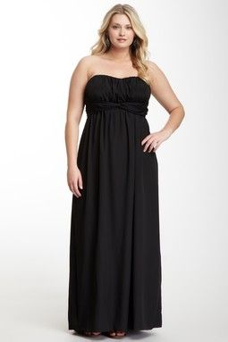 Jessica Simpson Long Pleat Drape Front Dress - Plus Size - www.myseattlestylist.com