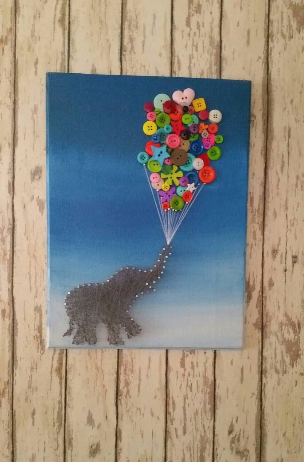 Cute elephant string art with balloon buttons